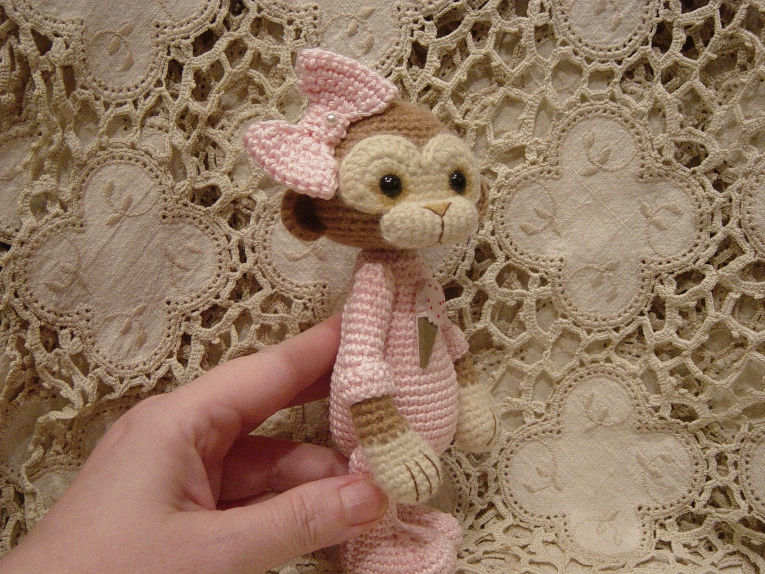 Thread crochet monkey doll Nea