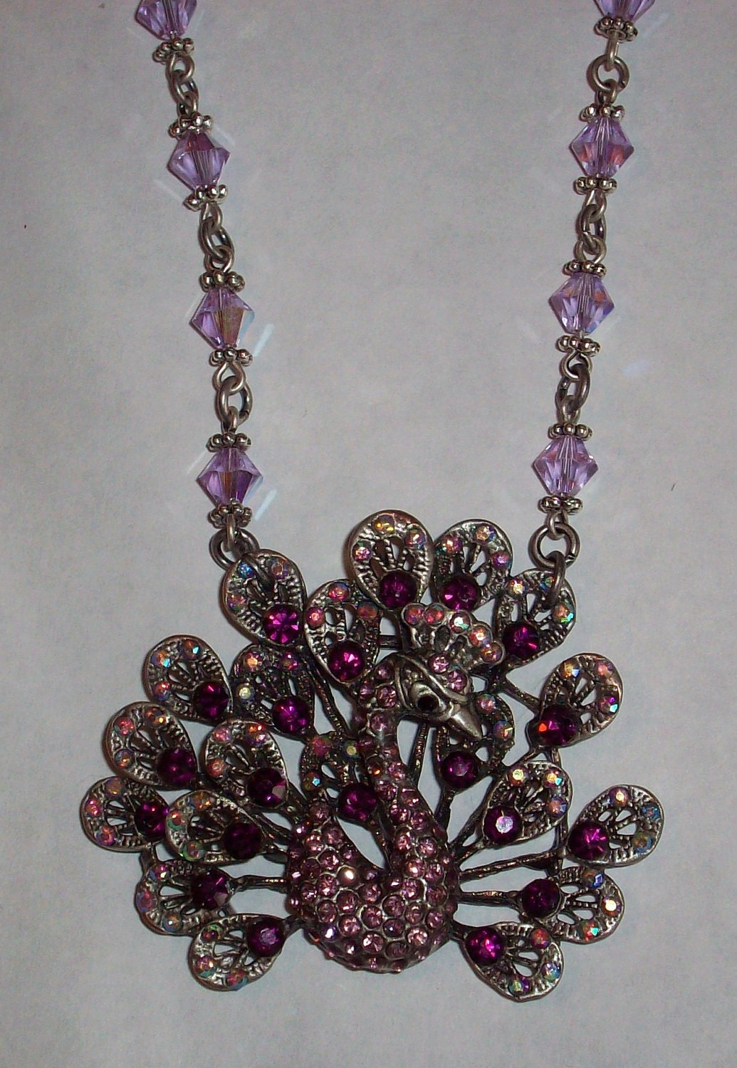 SALE 30% Off-Unique One of a Kind Peacock Crystal Swarovski Crystal Pendant Necklace Gifts under 100
