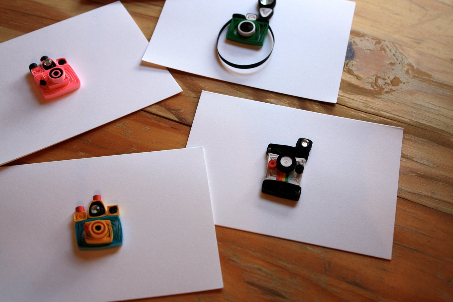 Vintage Camera Quilled Greeting Cards - Set of 5 A2-  Holga, Diana, Instamatic