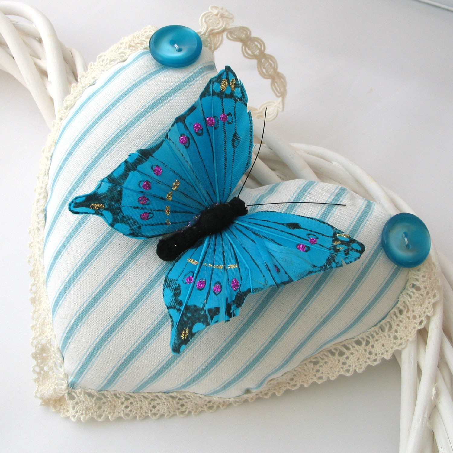Turquoise Butterfly Heart Hanging Decoration Lavender Fragranced - AdienCardsandGifts