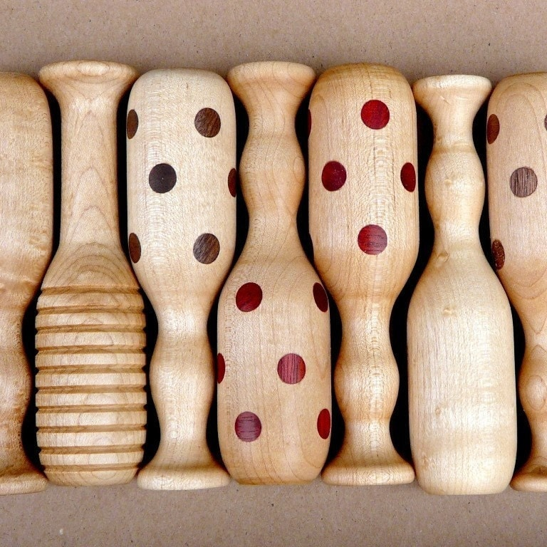 organic RATTLE brown polka dot Maple and Walnut wooden baby - infant