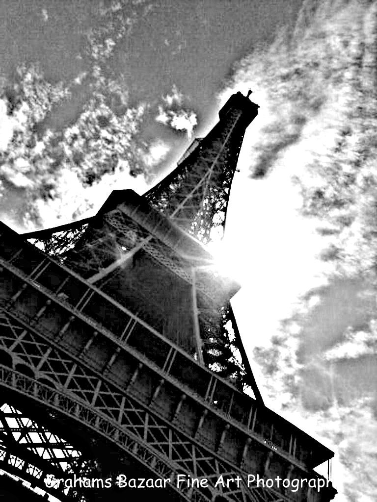 Eiffel tower black and white paris france fine by for Eiffel tower wall mural black and white