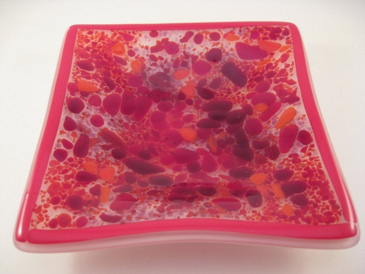 Square Fused Glass Dish Red Explosion