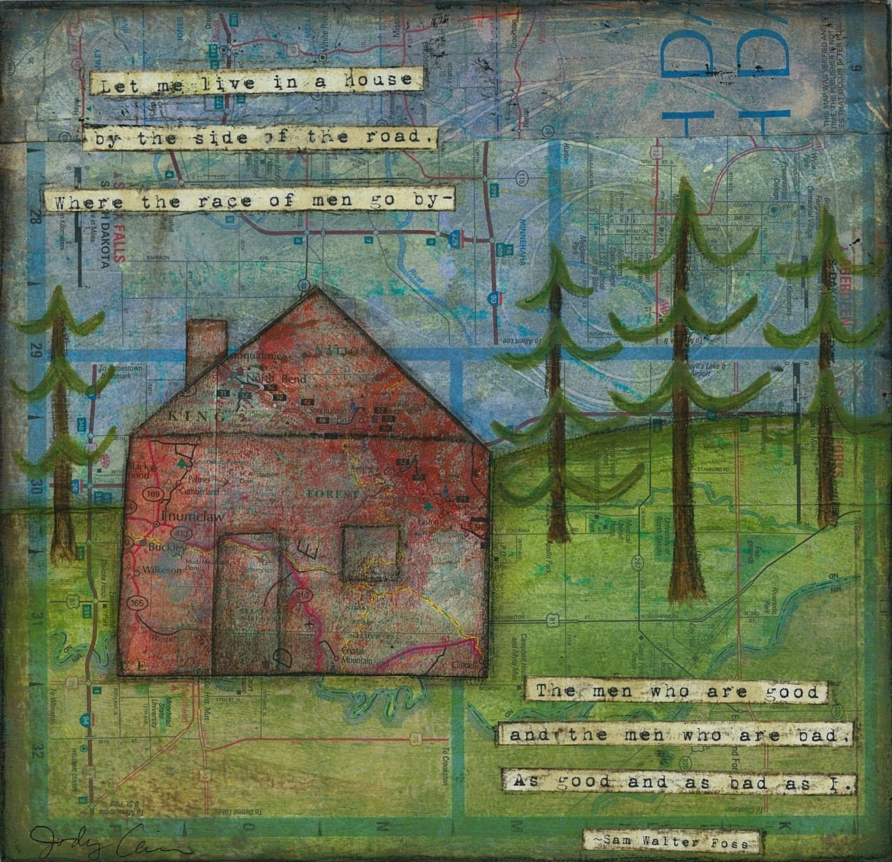 Let Me Live,  print of original mixed media collage
