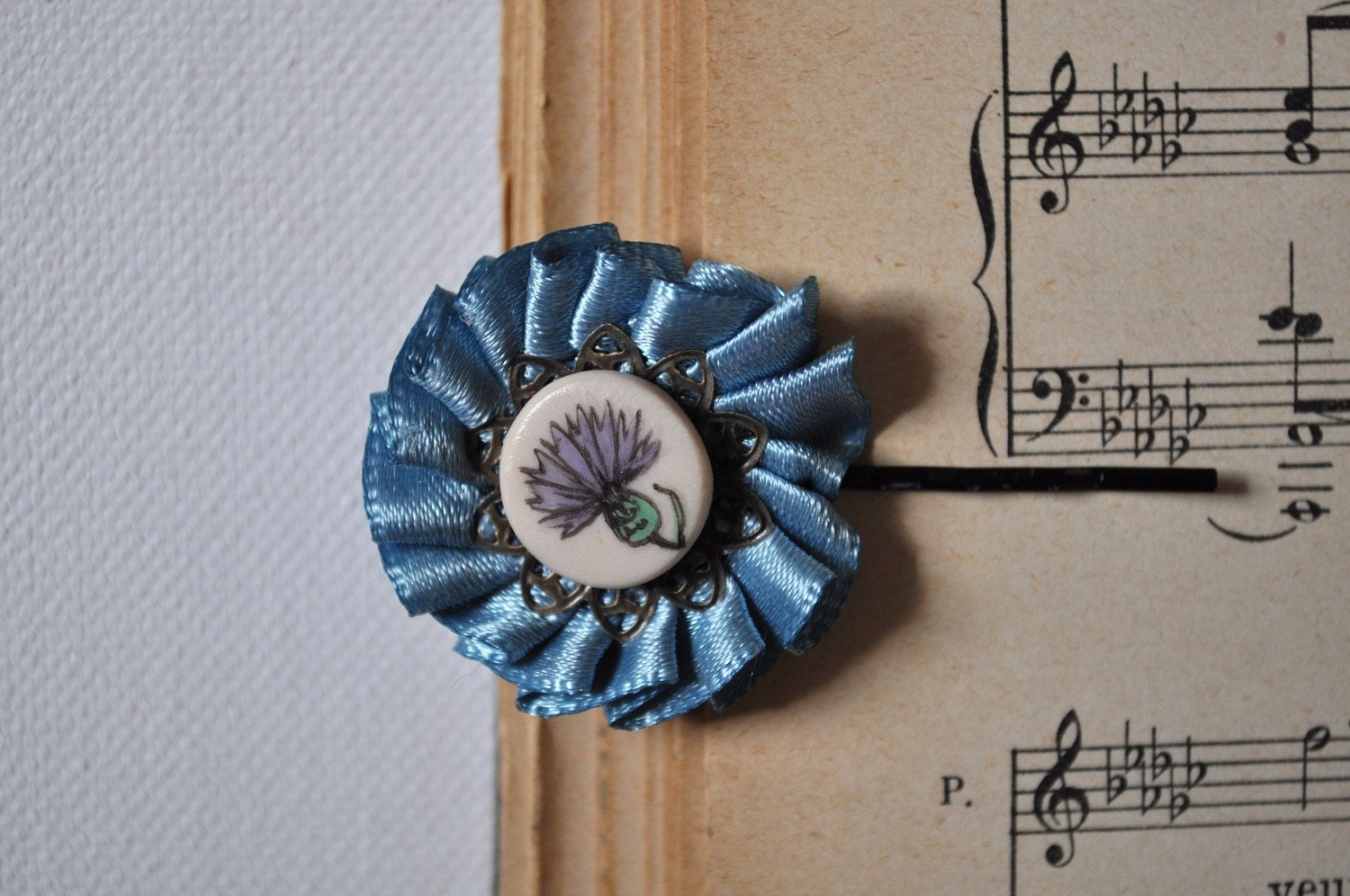 vintage inspired sky blue flower hairpin