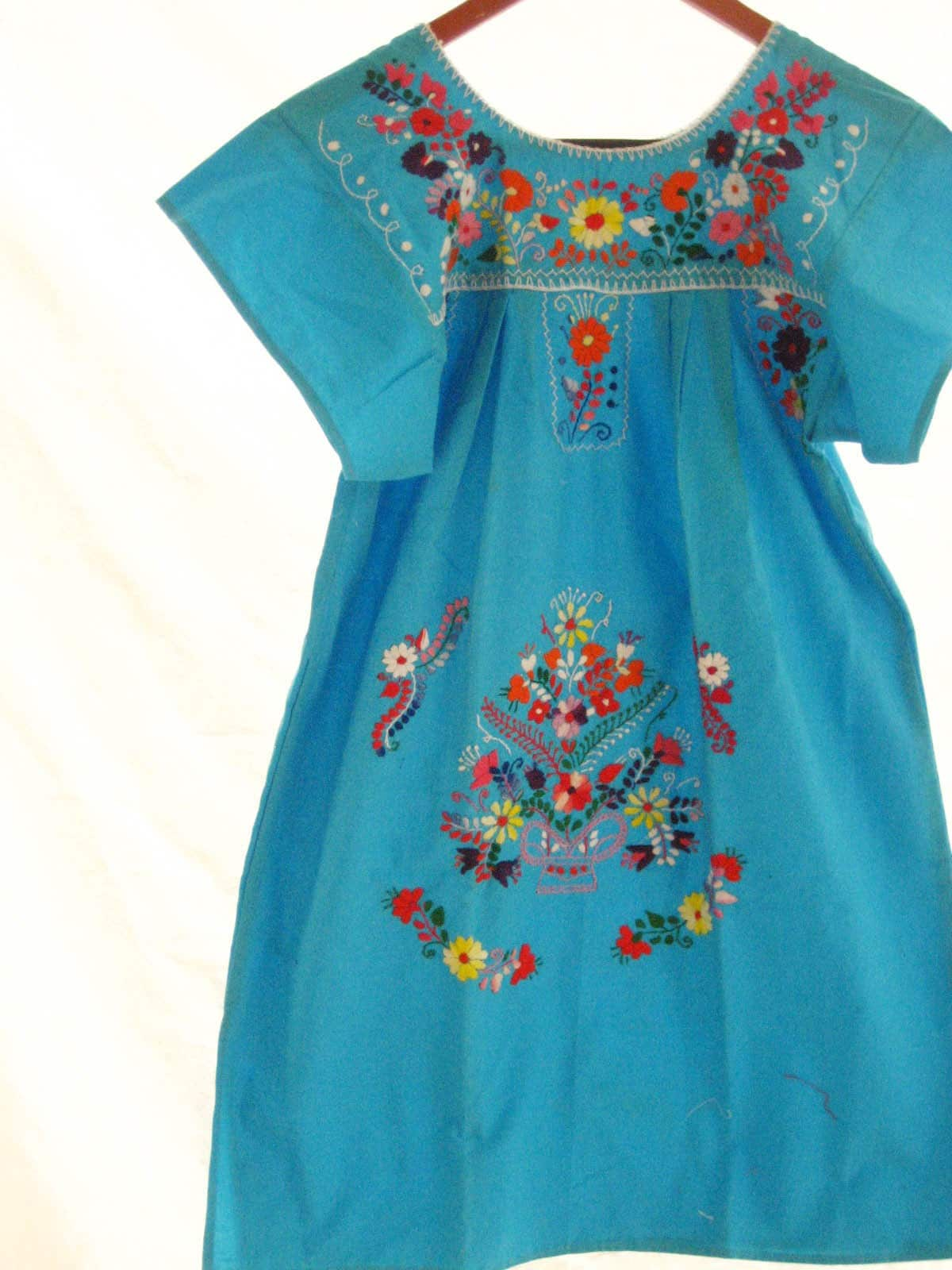 Mexican Embroidered Dress Tunic stylish hippie TURQUESA vintage S M L