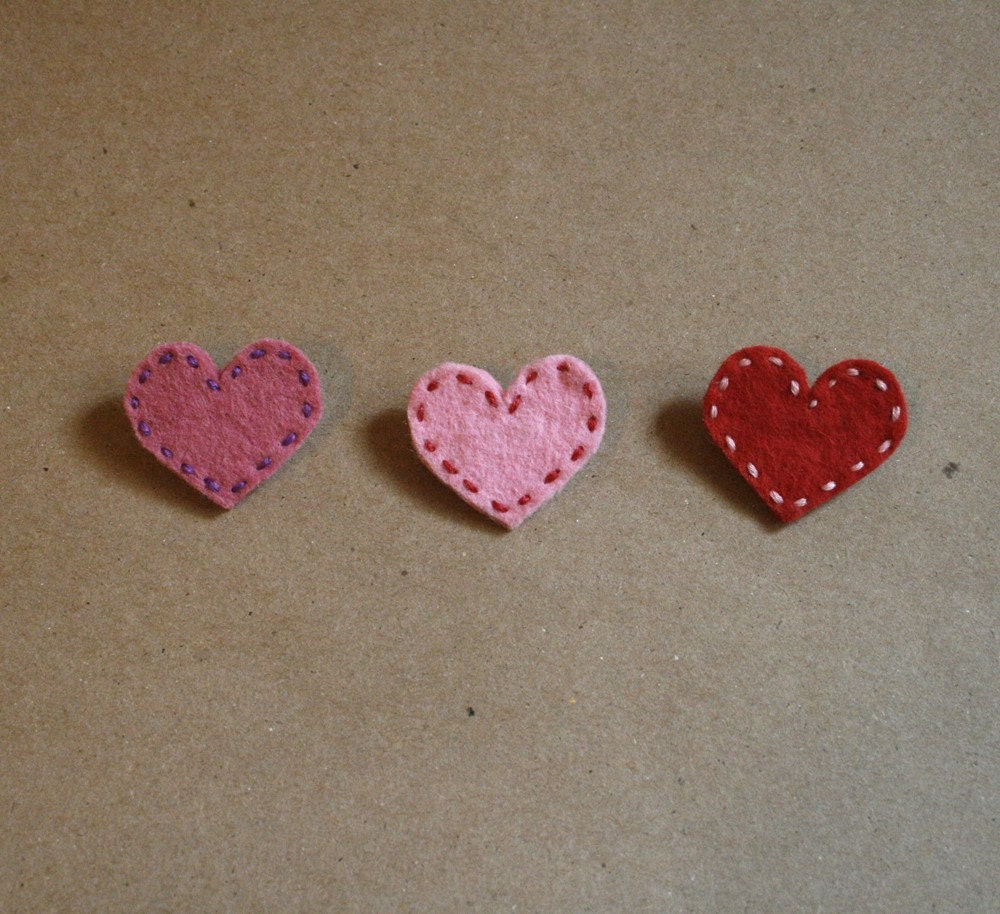 red, pink and cotton candy heart brooches