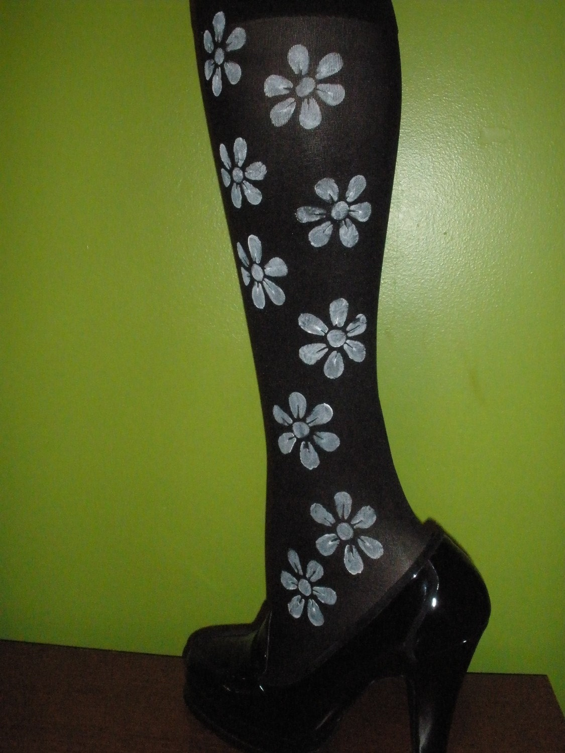 Beautiful Embellished Custom Painted Ladies/Womens Knee Highs Nylon Socks