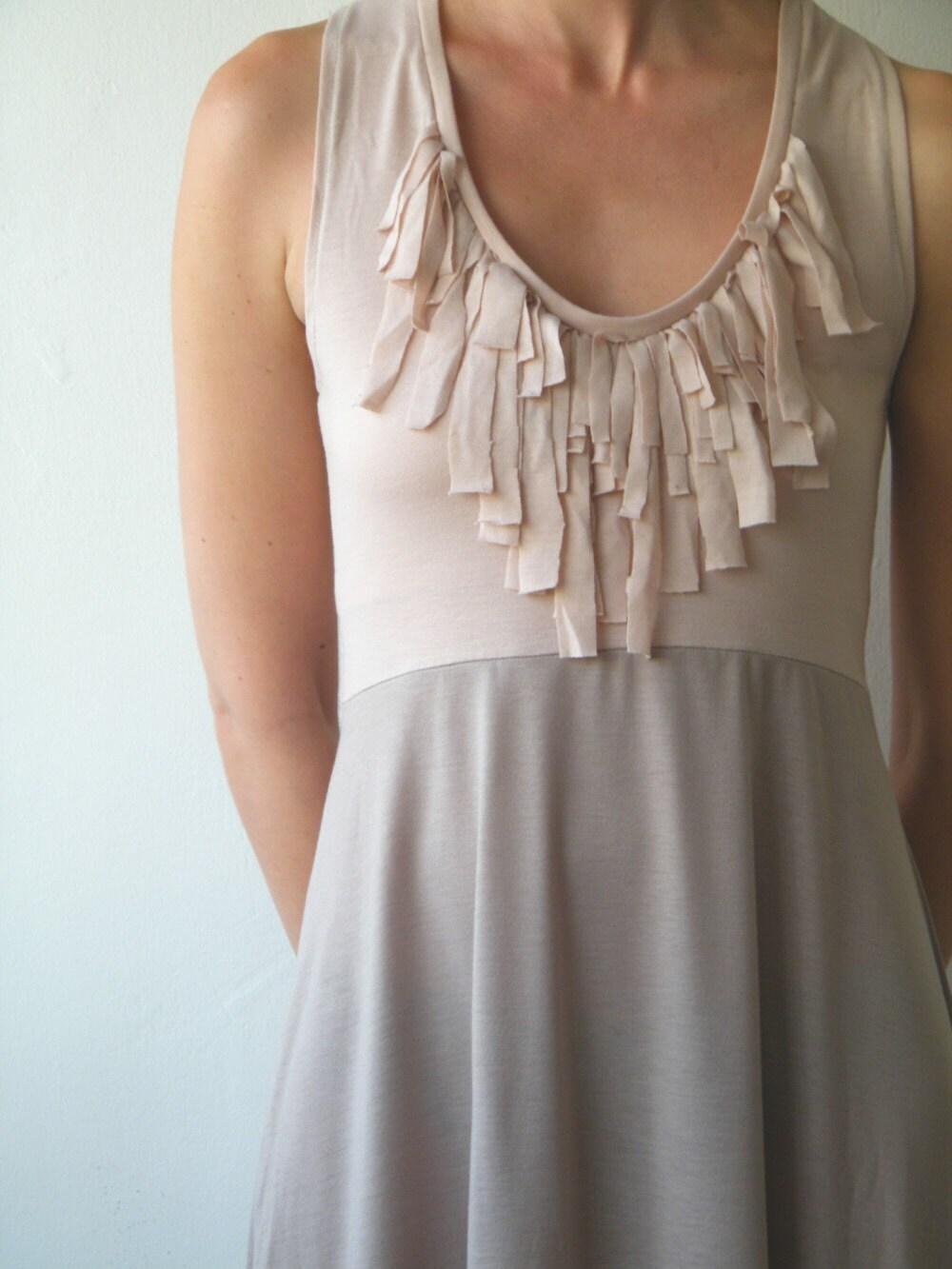Fringe dress  sleeveless beige and powder pink by MyLolaFashion from etsy.com