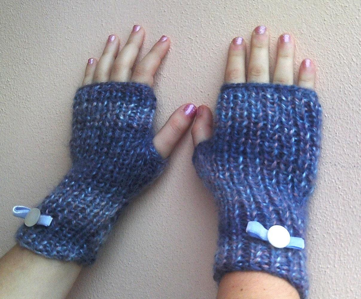 Knitted wrist warmers bleu melange-ooak