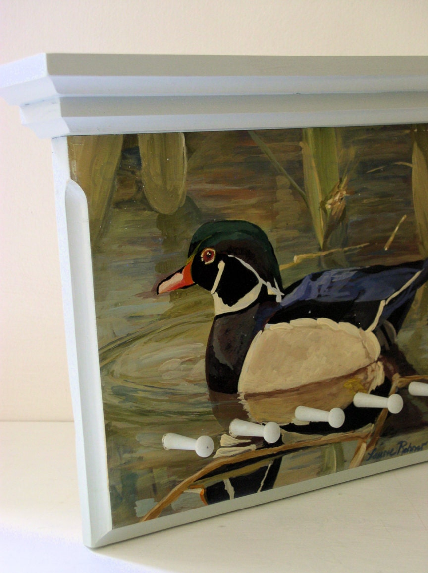 Peg Board with Shelf Wood Duck Landscape great for Mudroom.