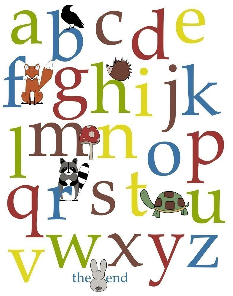Alphabet and Number Poster Woodland Series 11x14 Nursery Wall Decor