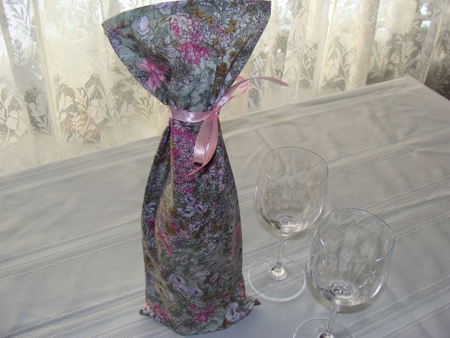 Pastel Floral Wine Bottle Bag