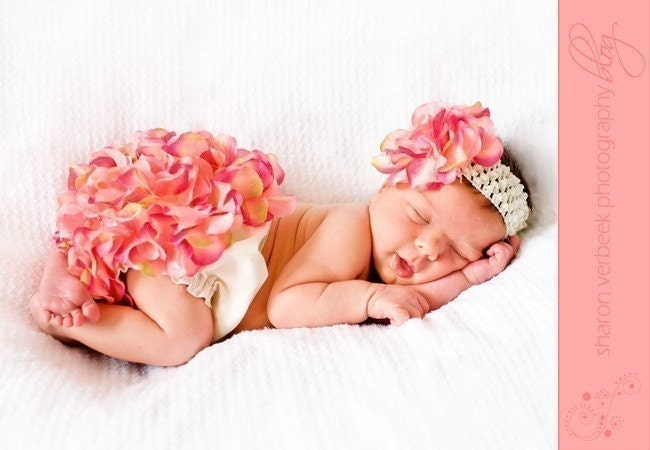 Reserved for minal117  -  Petal Set ...  Diaper Cover AND Headband in PINK