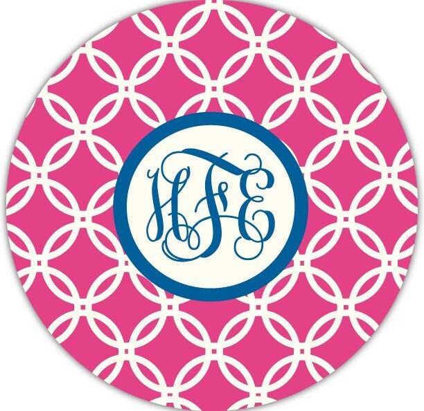 hibiscus circles - mousepad with custom monogram