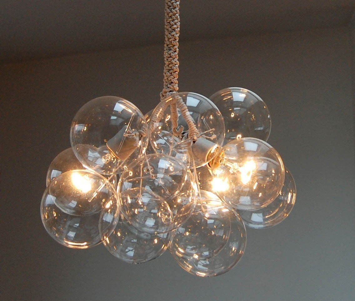 Bubble Chandelier with rope suspension. from etsy.com