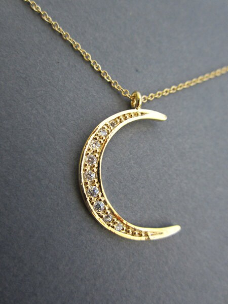 crescent moon necklace gold moon necklace jewelry by muse411