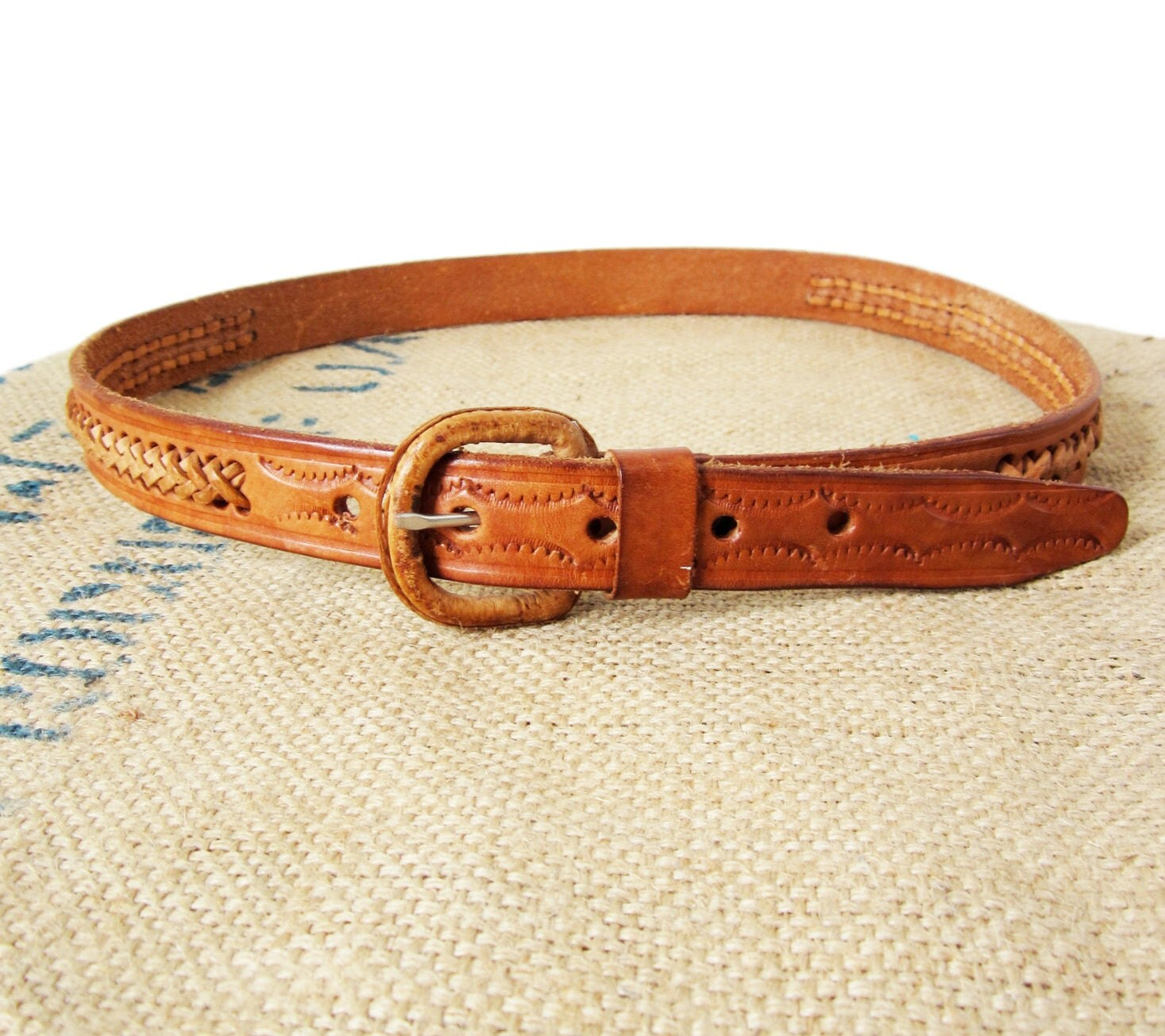 vintage mexican leather belt woven laced and by memoryvintage