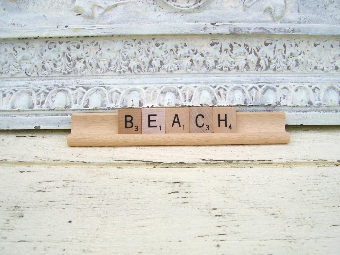 Coastal Cottage Decor Vintage Scrabble Beach Sign