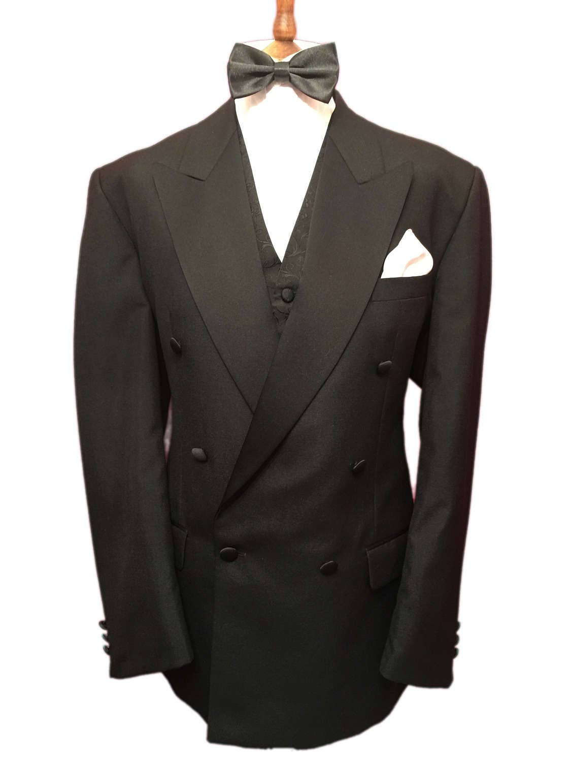 Austin Reed 40 Regular Vintage Pure Wool Double Breasted Tuxedo Jacket