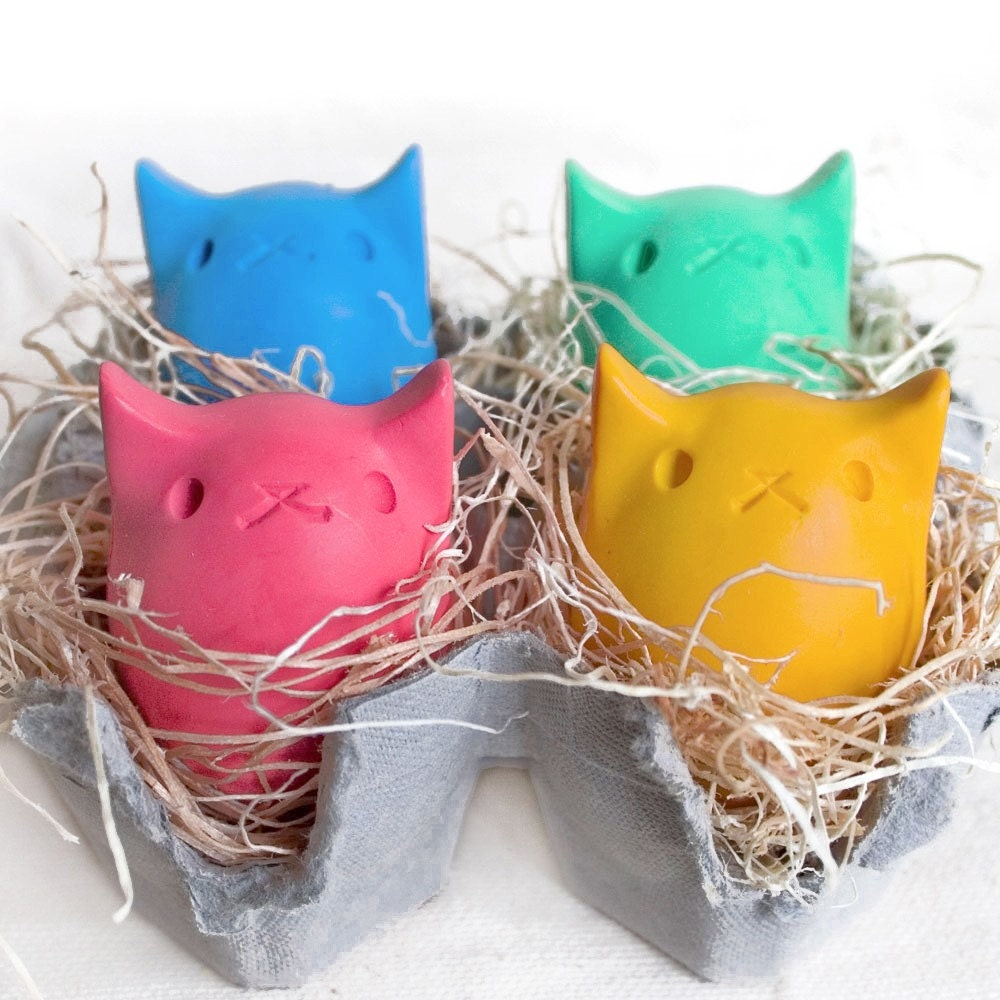 Pick your own Kitty Egg Crayons - 4 Colors