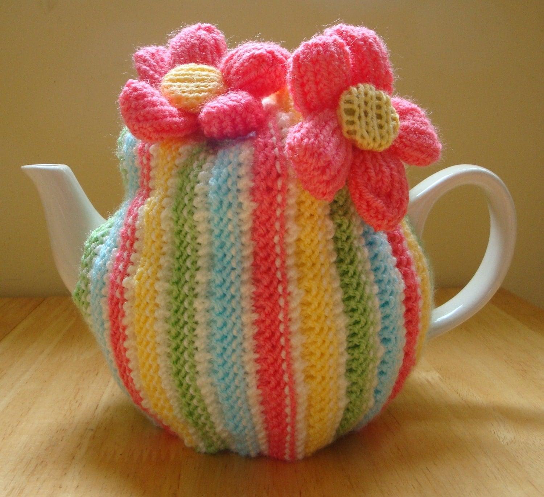 Hand Knitted Summer Pastel Stripes Tea Cozy by KraftyKatsUK