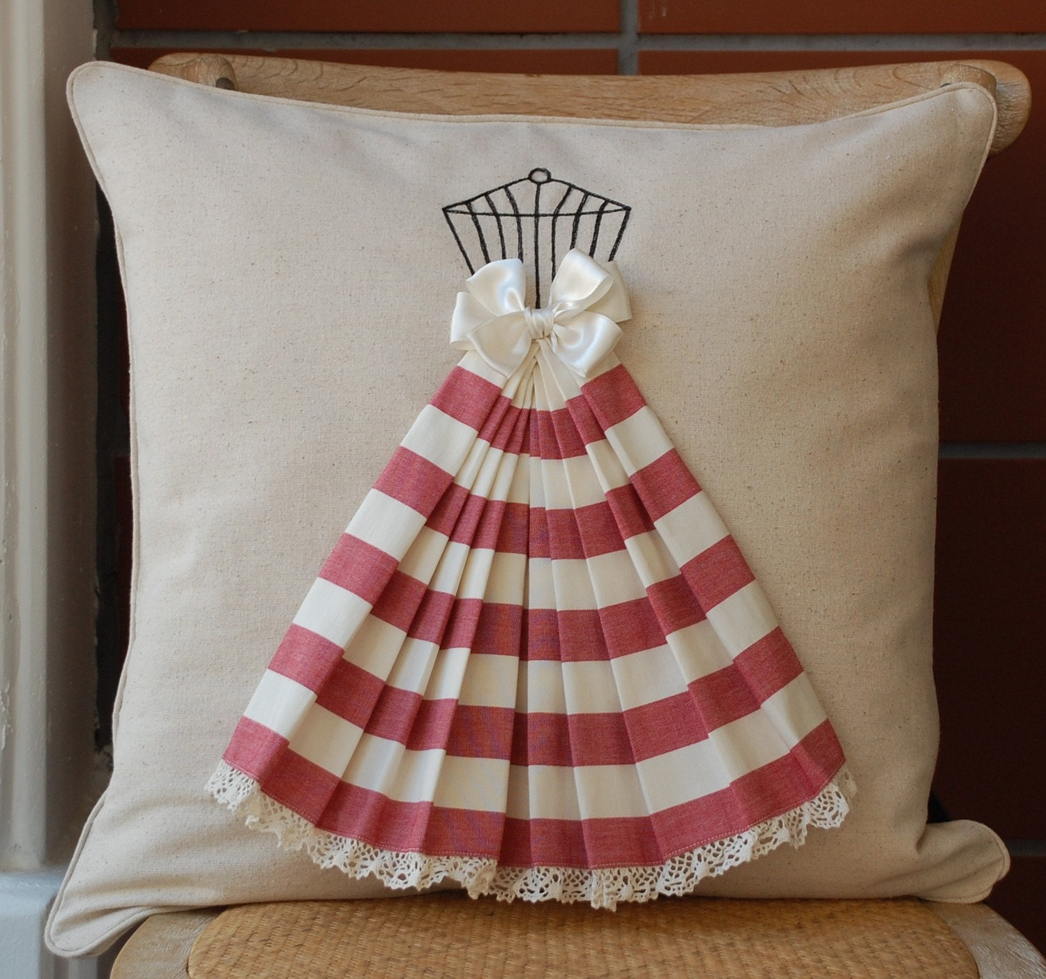 Long stripe skirt pillow cover
