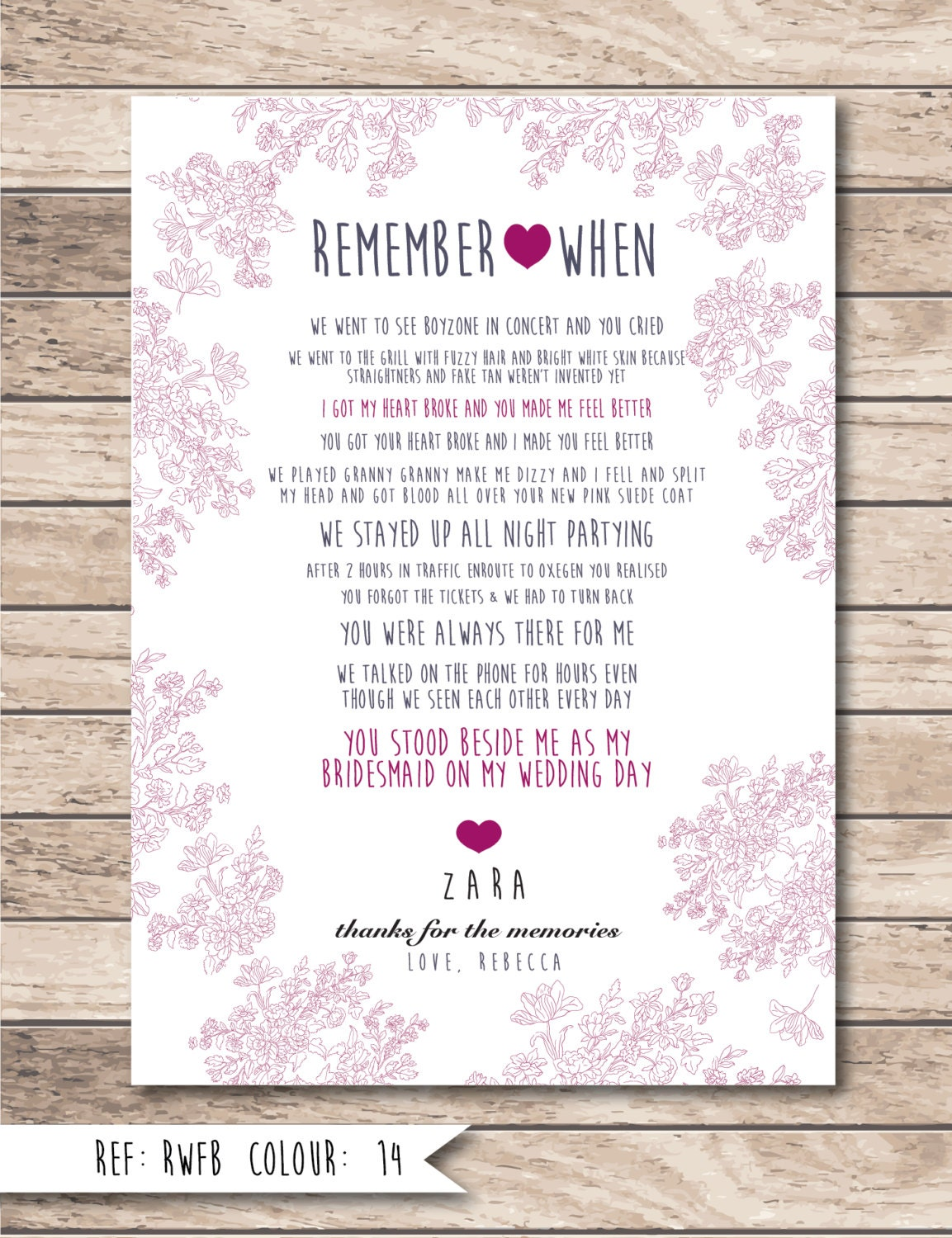 Wedding Gift For Bride From Best Friend : ... When - Personalised Bridesmaid, Birthday, Best Friend, Wedding Gift