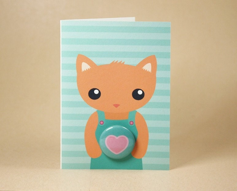 Kitty Cat Love Gift Card featuring Badge - Valentines Day