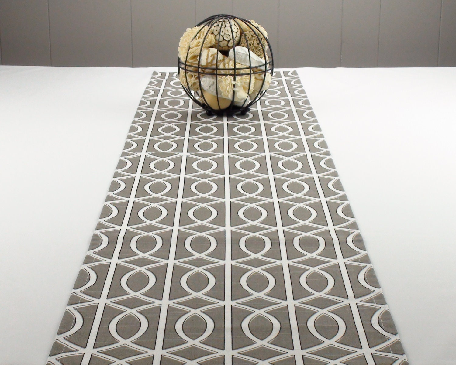 Modern Geometric Table Runner - Charcoal Grey and White Colors 96 inch long table runner - ProperPillow