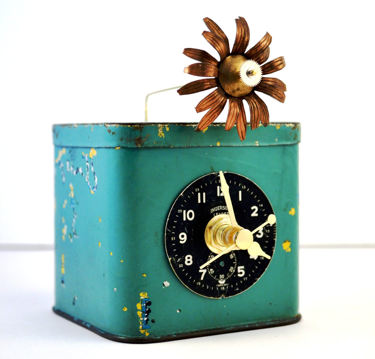 Desk Clock, Mantel Clock, Rustic, Steampunk, Home Decor, Vintage Tin - Chanchala