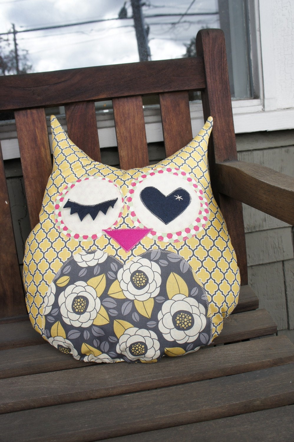 Large Owl Decorative Pillow - Yellow & Gray - Ready to ship
