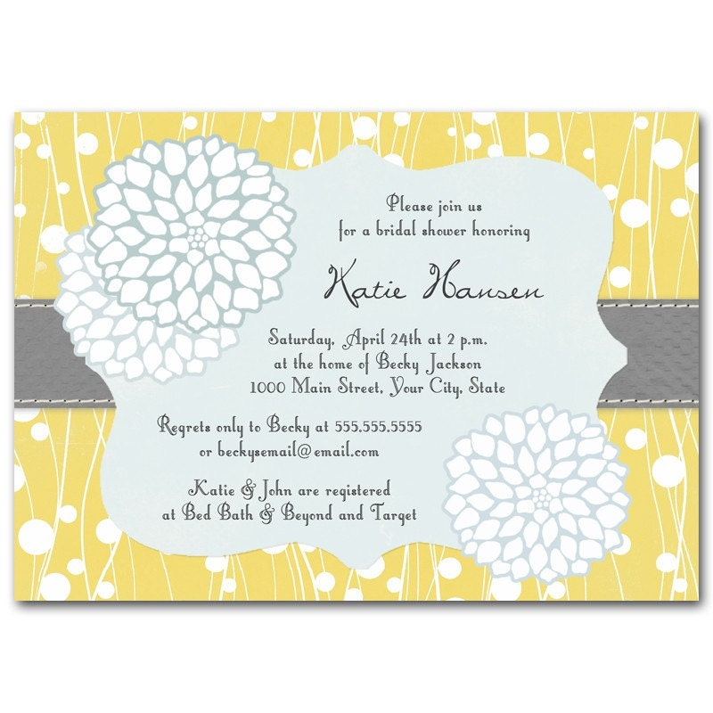 Vintage look yellow, blue, gray invitation or announcement