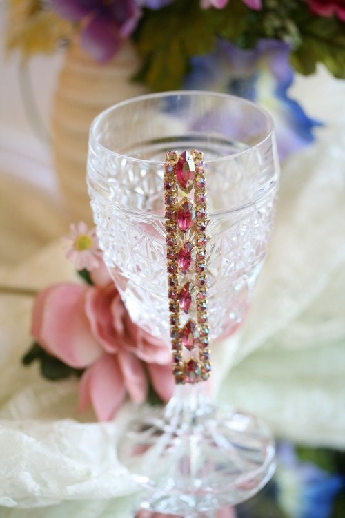 Paris, vintage rhinestone bracelet, by KD Design Studio,  pink, vintage, wedding, bride, special occasion, rhinestones, gold