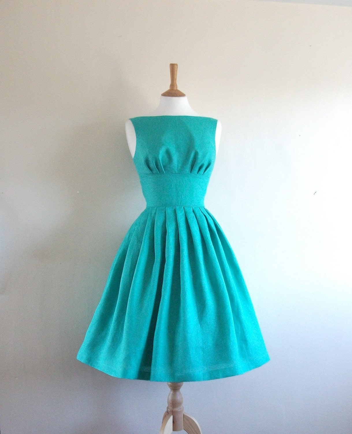 Turquoise Linen Tiffany Prom Dress - made to measure - by Dig For Victory