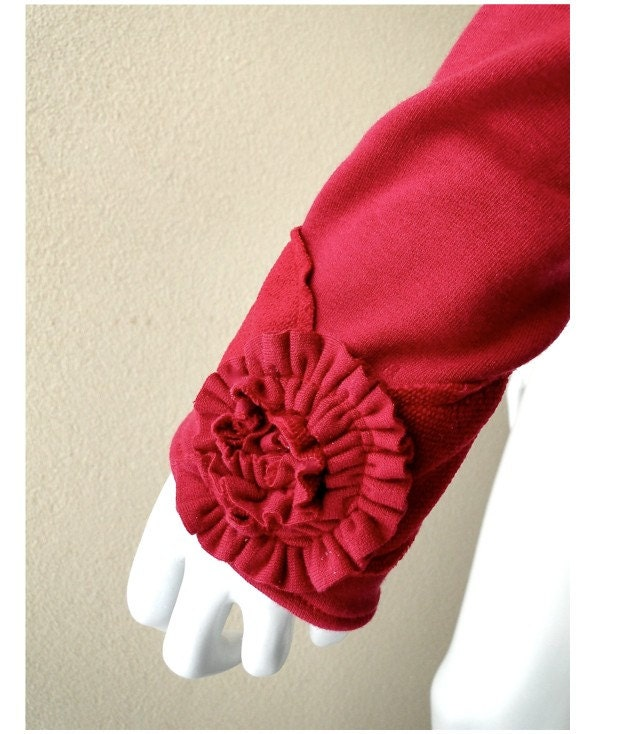 Rosetta arm warmers in cranberry ooak