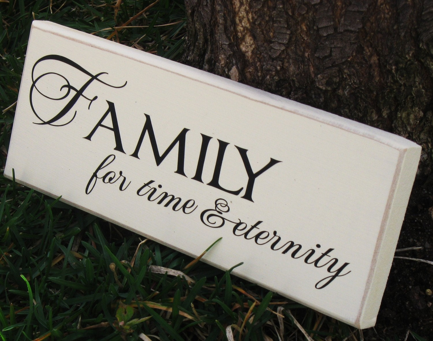 Family for Time and  Eternity vinyl lettering wood mini-sign READY TO SHIP