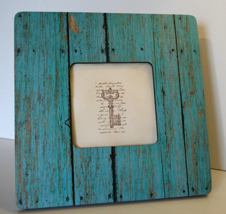 Coastal decor barnwood frame turquoise by finchnwillowboutique for Barnwood decor
