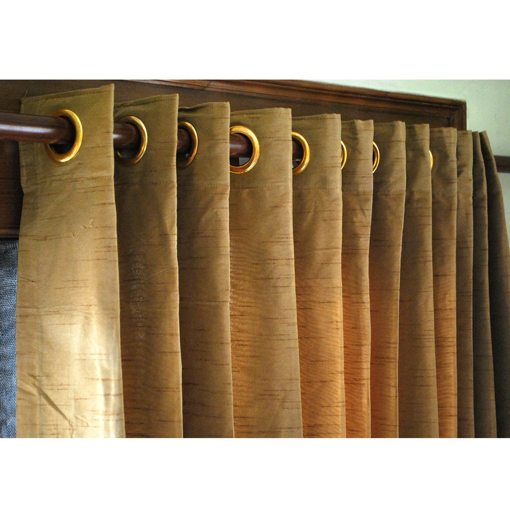 """Pair of Gold Brown Silk Curtain Panels 26""""x84"""" Grommet Drapes Home And ..."""
