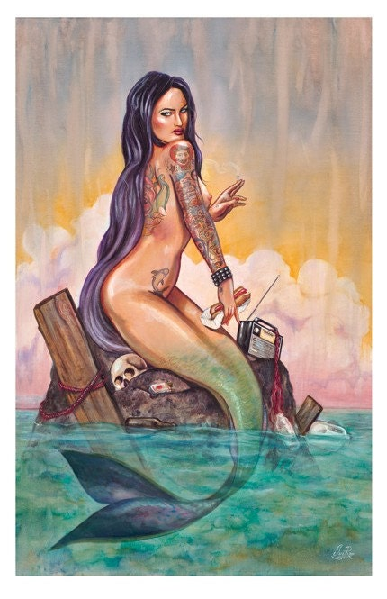 Coney Island Mermaid tattoo poster print new from sara ray art an east coast