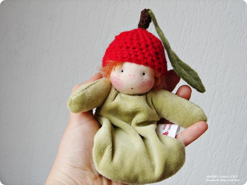 Custom  Little Cuddle Baby apple waldorf doll by MaRiAS Nature TOY'S