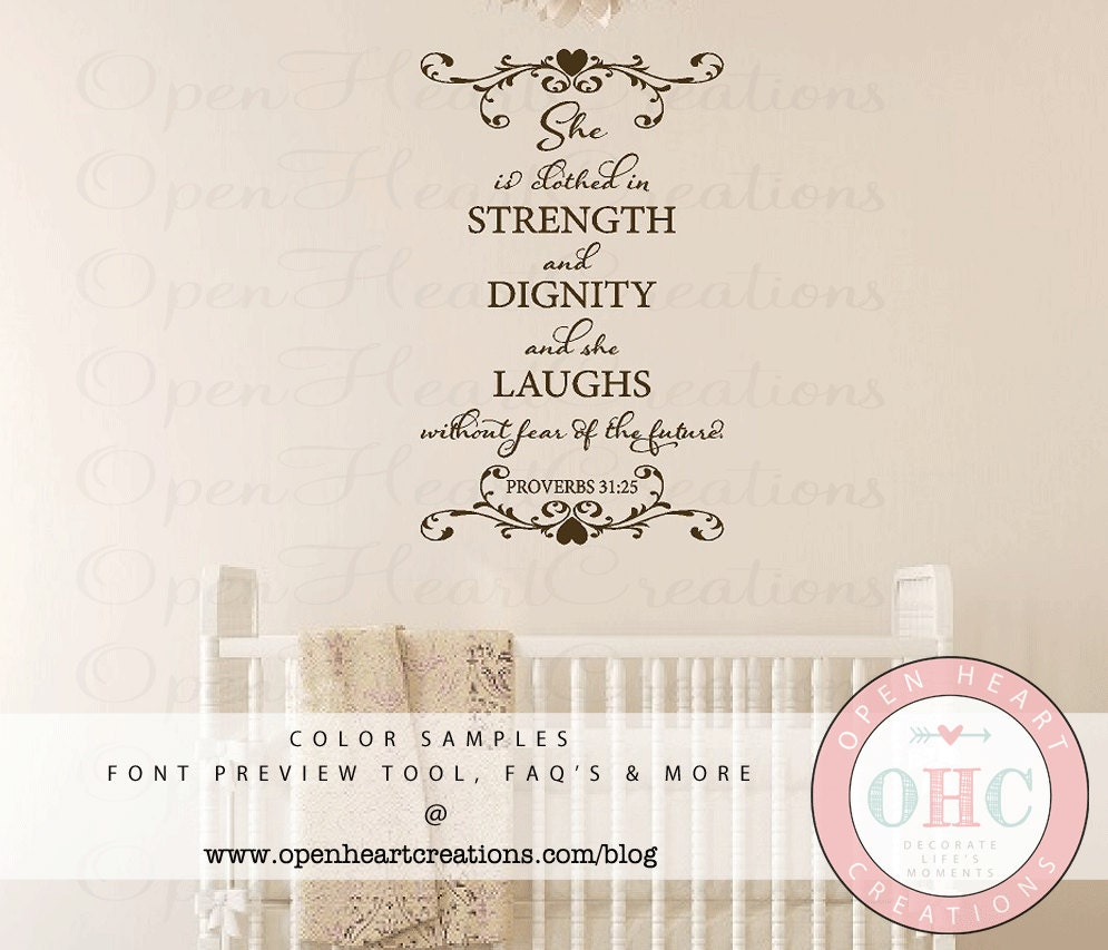 Dignity Wall: Scripture Wall Decals She Is Clothed In By Openheartcreations