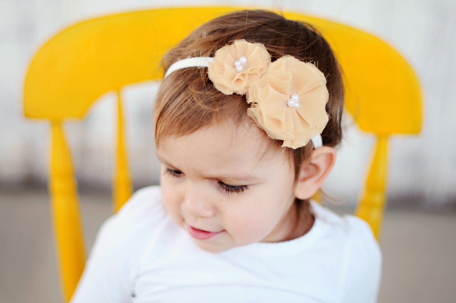miss delaney--golden yellow double posie headband