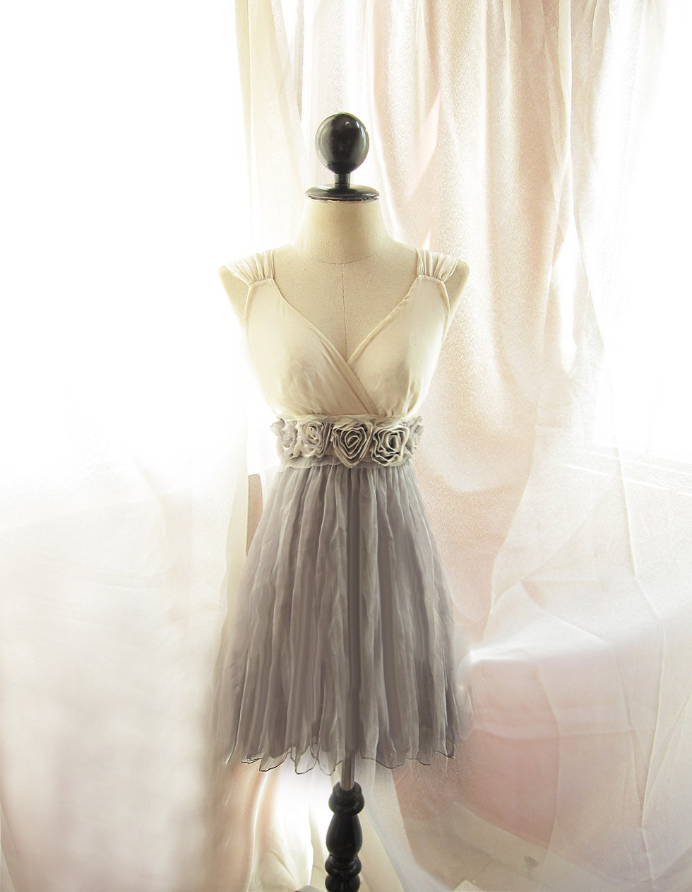 Dreamy Cream Misty Earl Gray Rainy Nostalgia Dusty Rosette Soft Heavenly Chiffon Romantic Marie Antoinette Dress