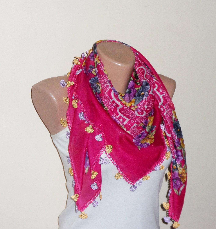 dark pink scarf  yellow flower green  purple white aidaidris cotton turkish yemeni oya handmade - DamlaScarf