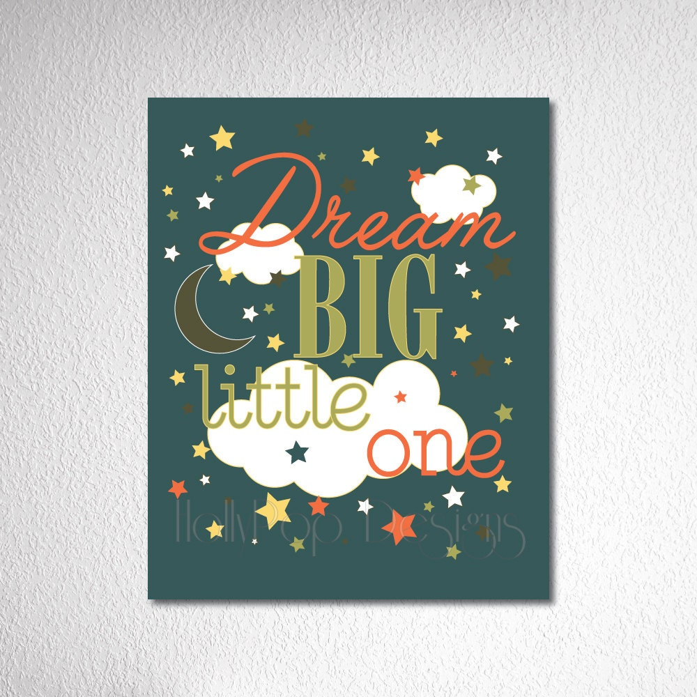 Nursery Wall Decor-Dream Big Little One quote-Nursery Art-Green Brown-Baby Boy-Modern Retro Artwork-little Boy Bedroom Inspirational Artwork - HollyPopDesigns