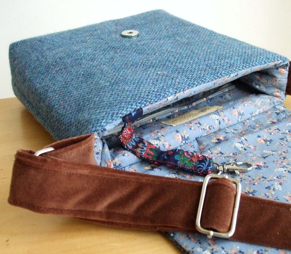 One of a Kind Harris Tweed Patchwork Satchel with Adjustable Strap