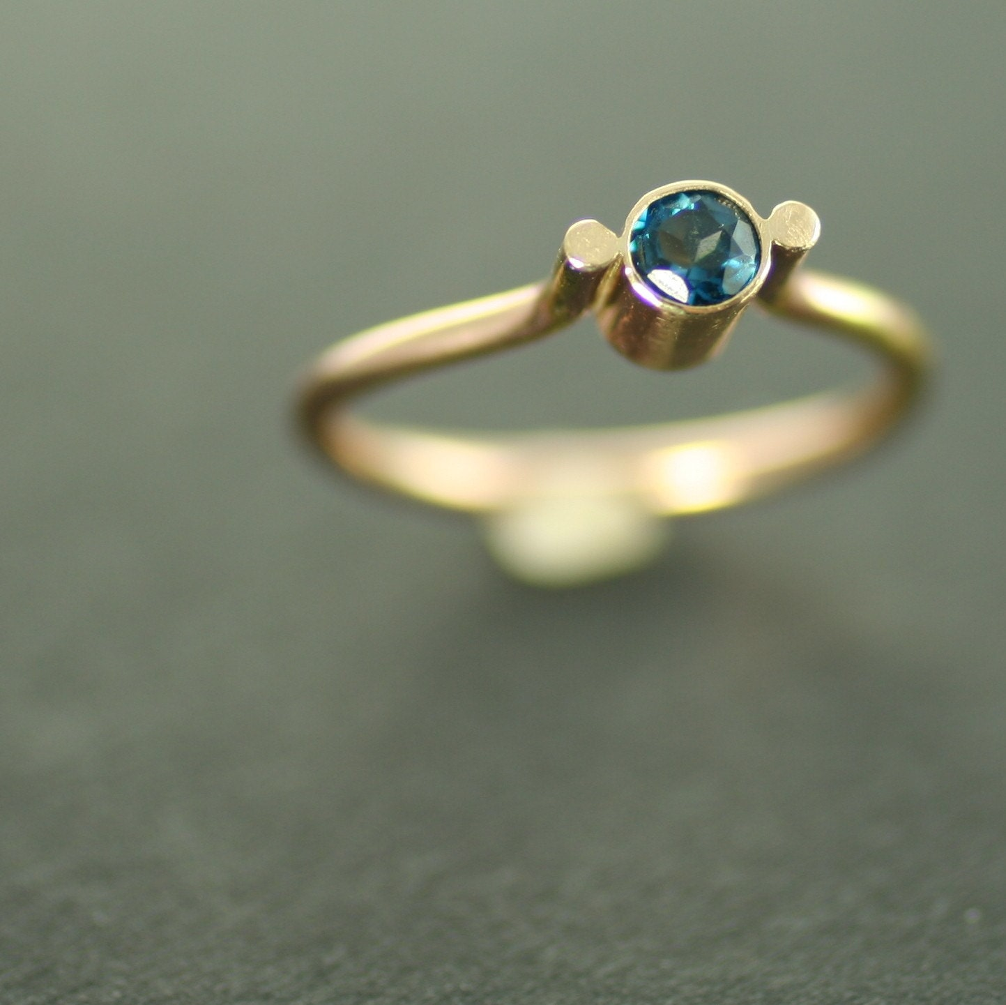 Gold Ring with London Blue Topaz in a Modern Setting