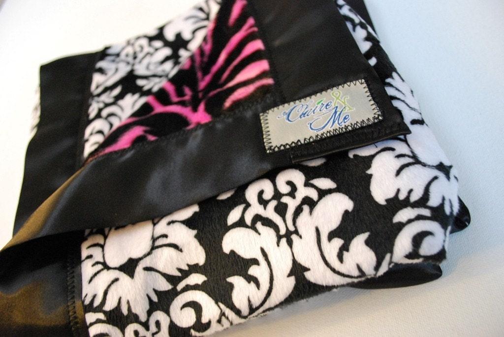 Minky Luxury Pink Rocker Zebra and Black and White Damask Luxury Baby Blanket