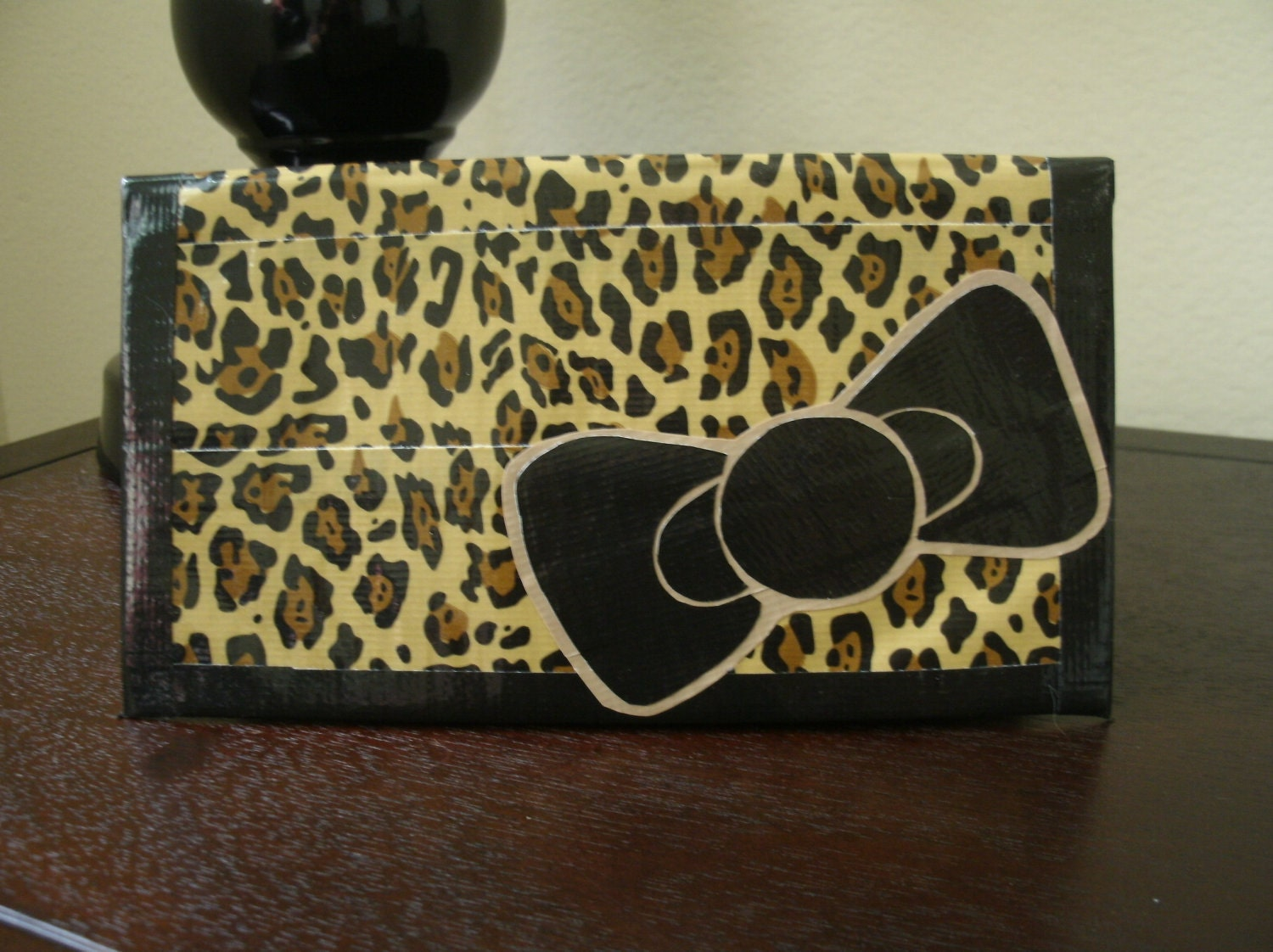Leopard Print, Women's Checkbook Style Duct Tape Wallet with Black/Tan Bow Detail
